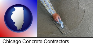 Chicago, Illinois - smoothing a concrete surface with a trowel