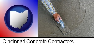 Cincinnati, Ohio - smoothing a concrete surface with a trowel