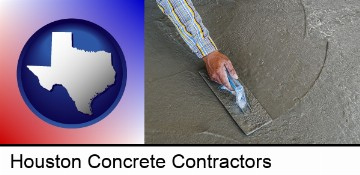smoothing a concrete surface with a trowel in Houston, TX