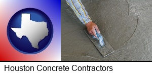 Houston, Texas - smoothing a concrete surface with a trowel