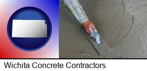 Wichita, Kansas - smoothing a concrete surface with a trowel