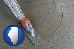 illinois map icon and smoothing a concrete surface with a trowel