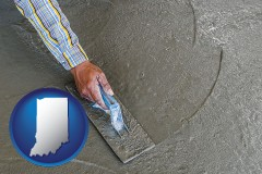 indiana map icon and smoothing a concrete surface with a trowel