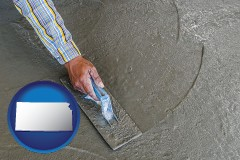 kansas map icon and smoothing a concrete surface with a trowel