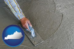 kentucky map icon and smoothing a concrete surface with a trowel