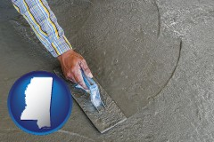 mississippi map icon and smoothing a concrete surface with a trowel