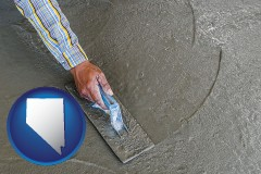nevada map icon and smoothing a concrete surface with a trowel