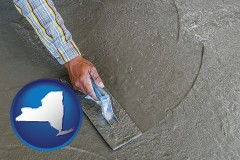 new-york map icon and smoothing a concrete surface with a trowel