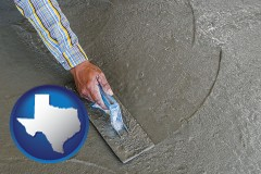 texas map icon and smoothing a concrete surface with a trowel