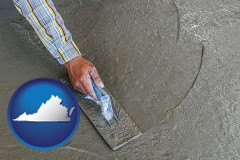 virginia map icon and smoothing a concrete surface with a trowel