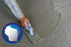 wisconsin map icon and smoothing a concrete surface with a trowel