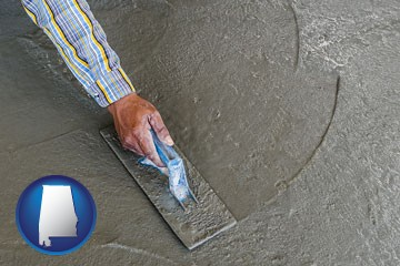smoothing a concrete surface with a trowel - with Alabama icon