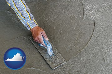 smoothing a concrete surface with a trowel - with Virginia icon